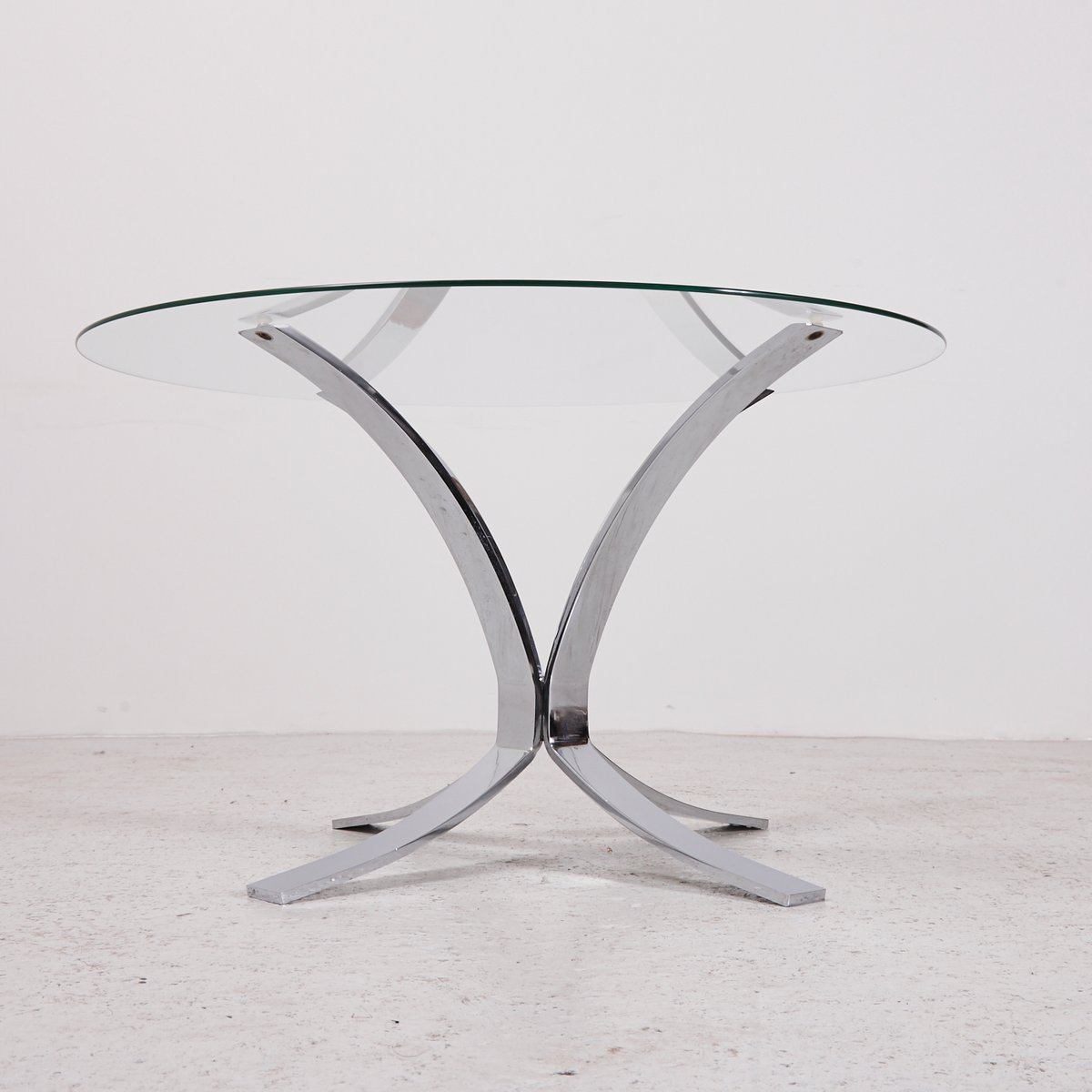 Vintage Glass Top Coffee Table With Chrome Plated Base For Sale At - Chrome base glass top coffee table
