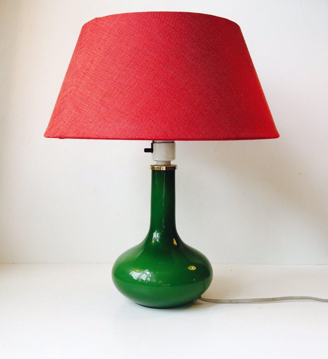 Dänische Tischlampe mit Grüner Glasverkleidung von Jacob E. Bang für H...