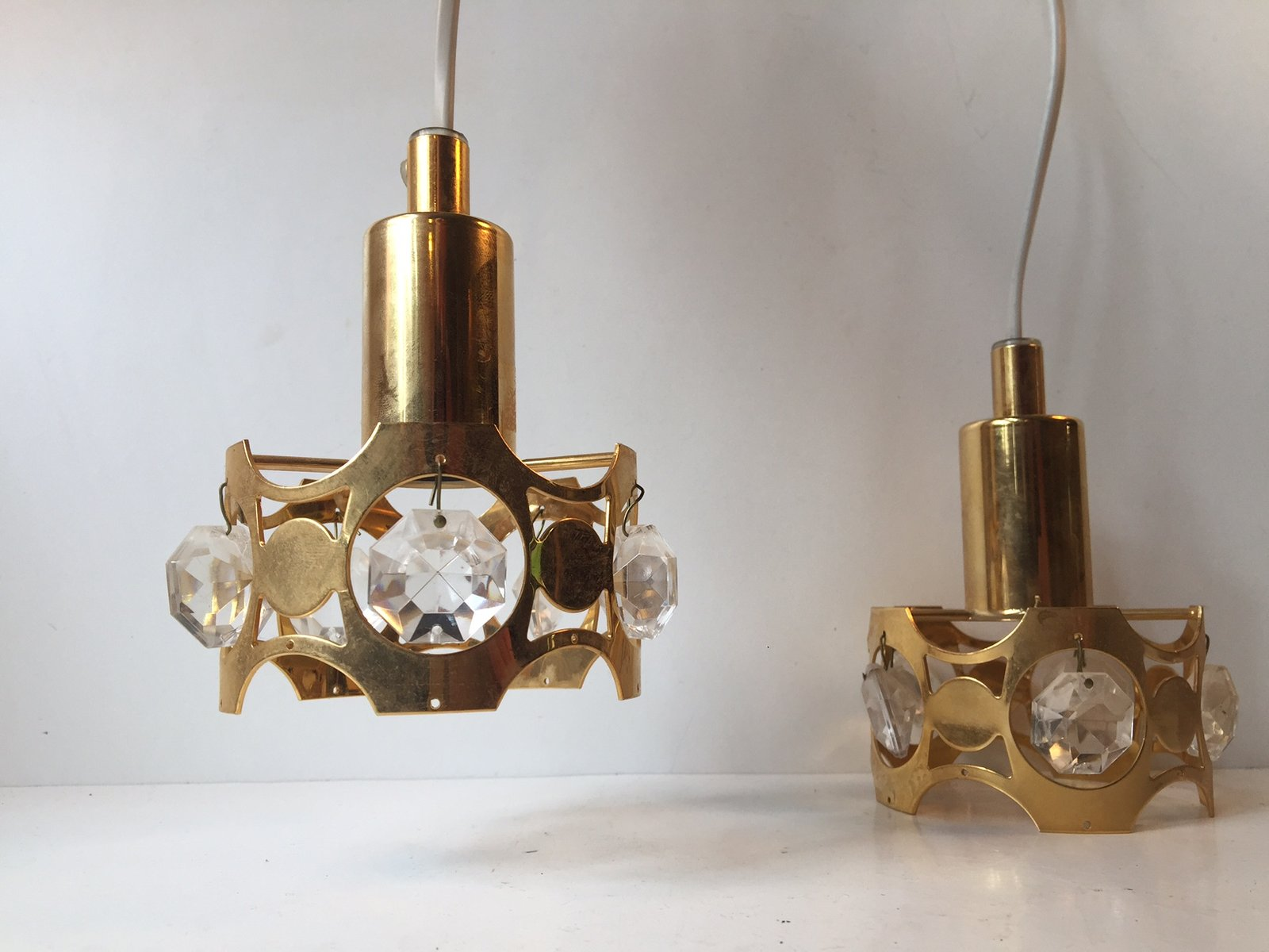 Lampade A Sospensione Vintage : Lampade a sospensione vintage moderne in cristallo e ottone dorato