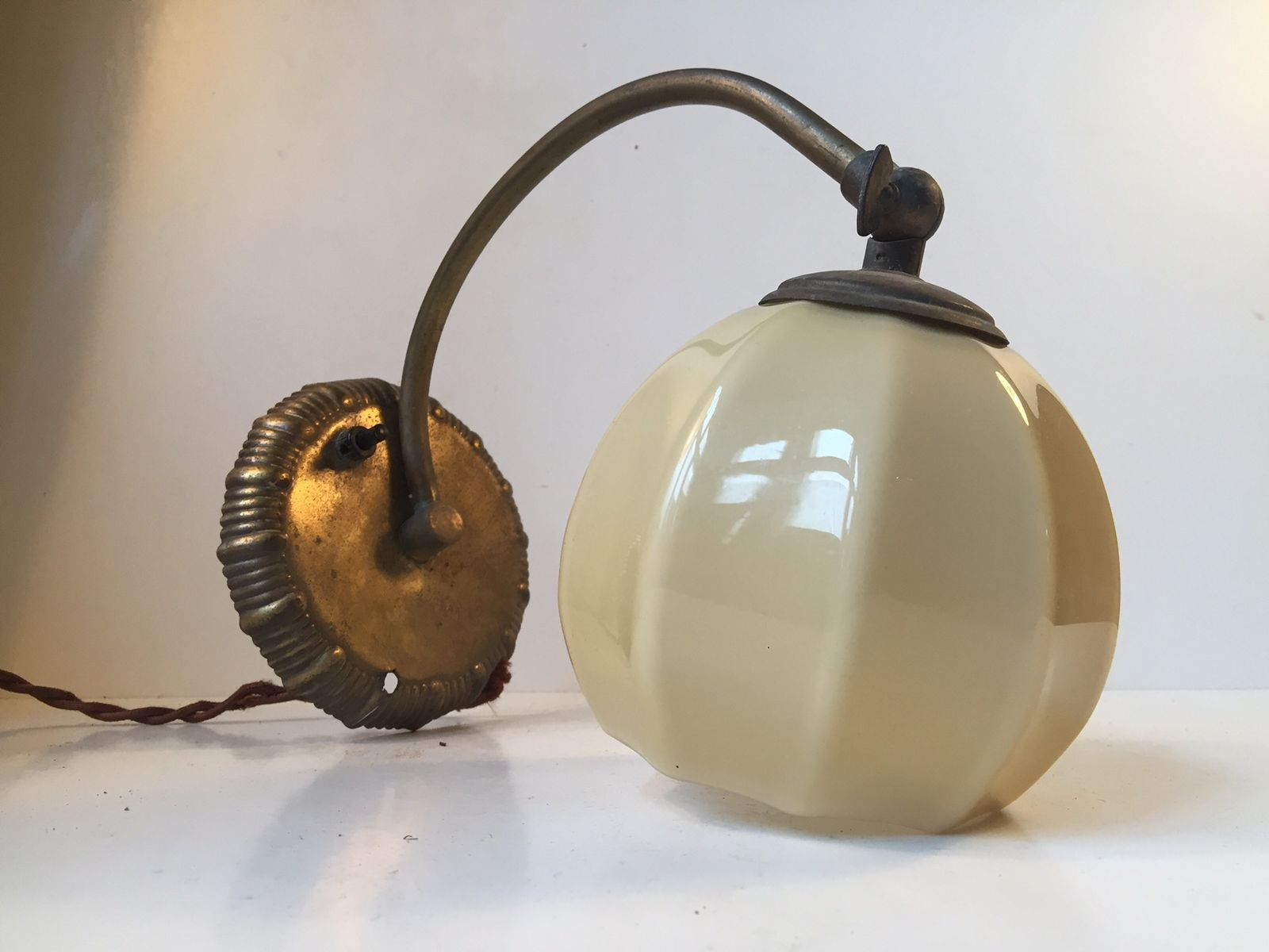 Funkis opaline glass brass wall lamp 1940s for sale at for Funkis sale