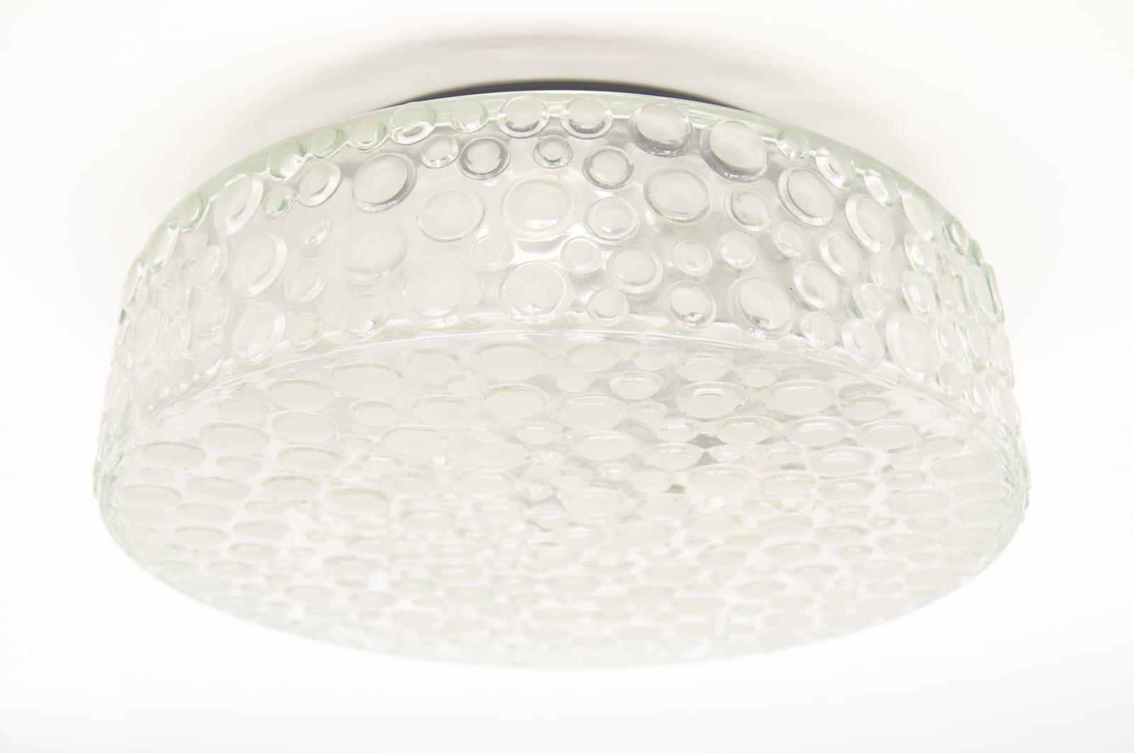 Schwere Bubble Eisglas Wandleuchte von Limburg, 1960er