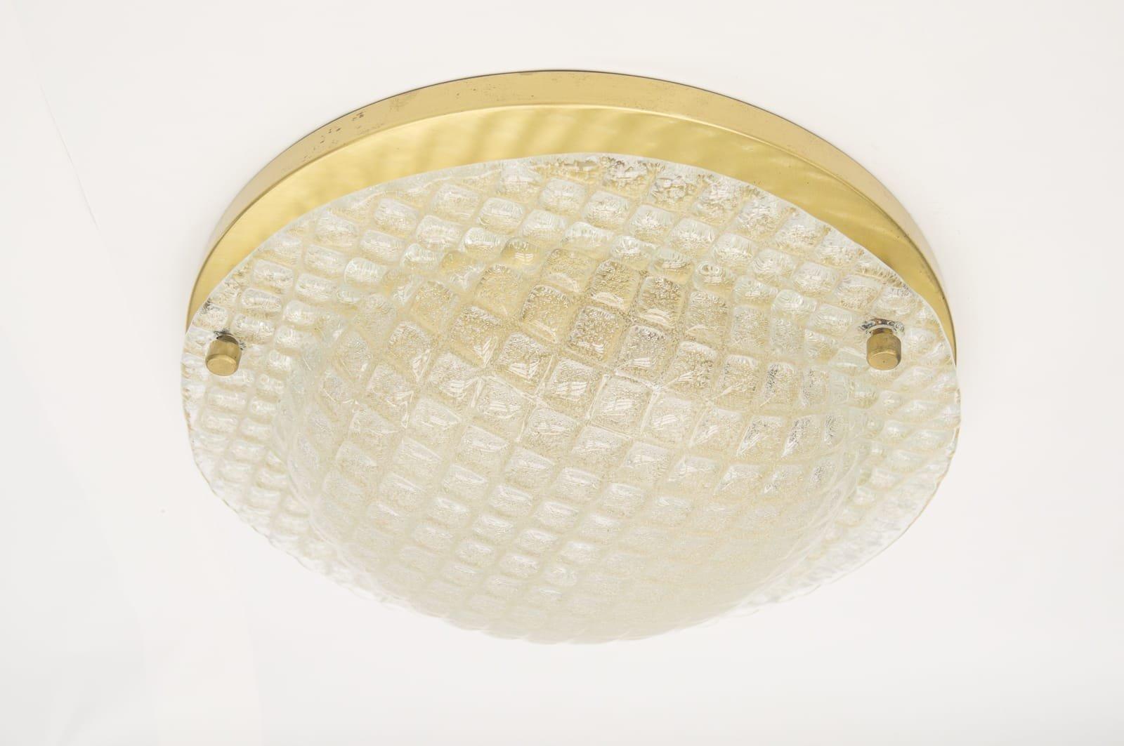 Große Messing Eisglas Wandlampe, 1960er