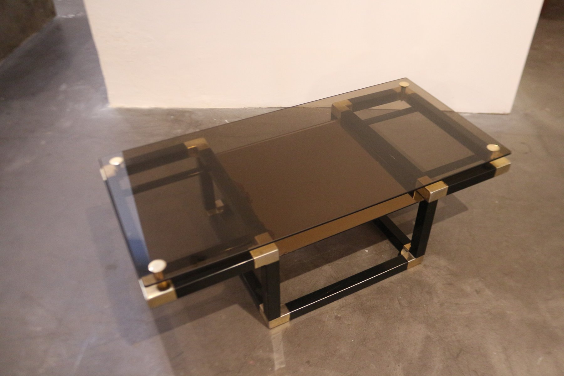 table basse en verre et m tal 1980s en vente sur pamono. Black Bedroom Furniture Sets. Home Design Ideas