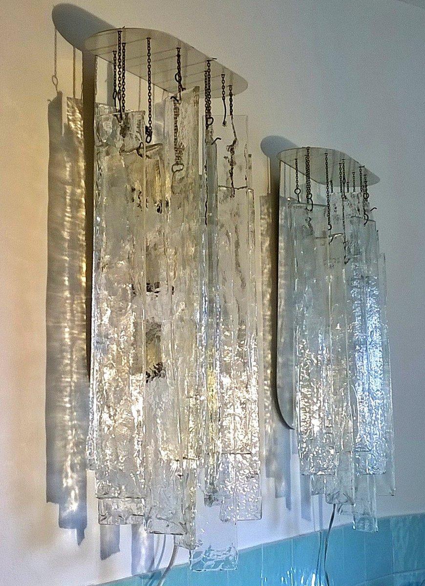 Lampade da parete in vetro di murano di carlo nason per mazzega anni 39 70 set di 2 in vendita - Lampade da parete di design ...