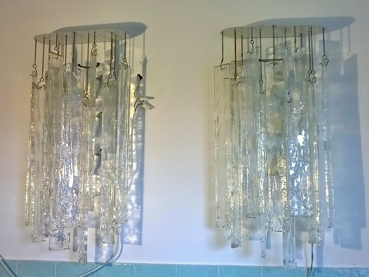 Große Murano Glas Wandlampen von Carlo Nason für Mazzega, 1970er, 2er ...