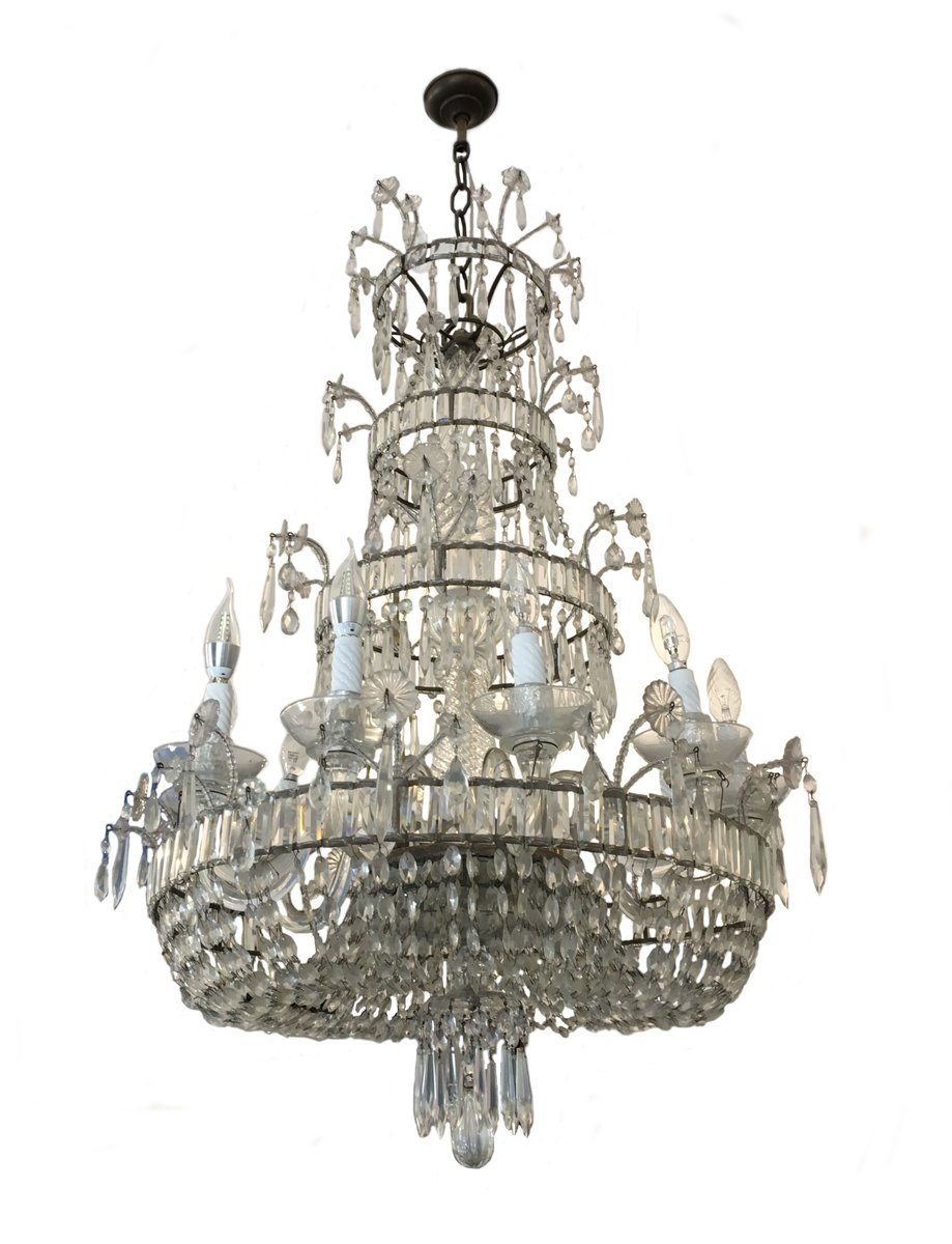 Antique Crystal Chandelier - Antique Crystal Chandelier For Sale At Pamono