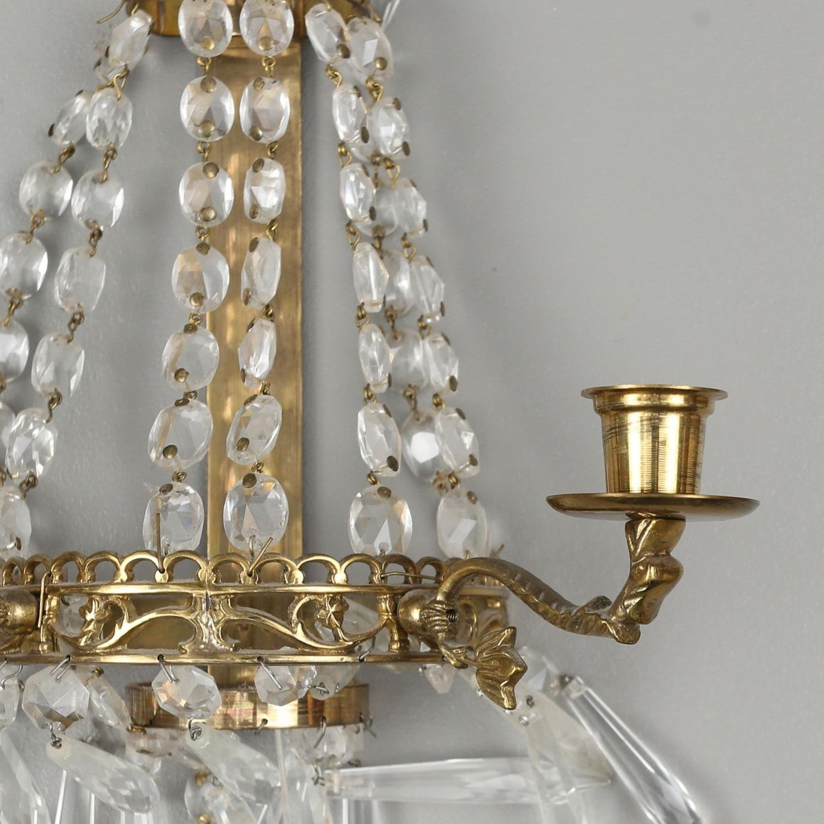 Antique Crystal Wall Mounting Candle Holders Set Of 2