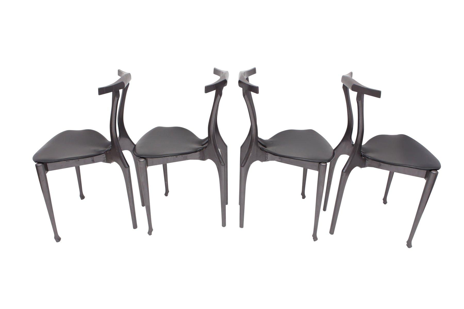 schwarze gaulino st hle von oscar tusquets 1980er 4er set bei pamono kaufen. Black Bedroom Furniture Sets. Home Design Ideas