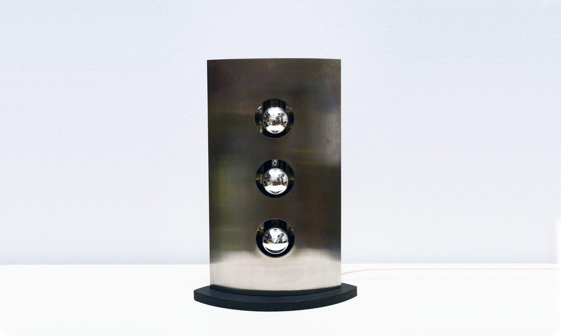 Stahl Tischlampe mit Drei Leuchten von Reggiani, 1970er