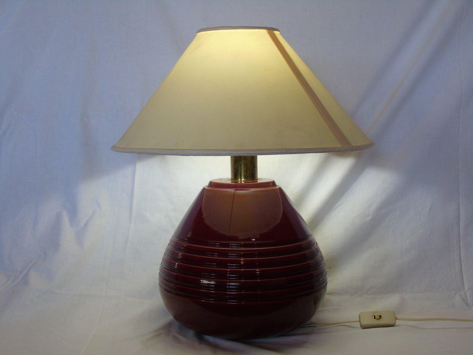 Lampada Da Tavolo Vintage In Ceramica Rossa Anni 39 60 In