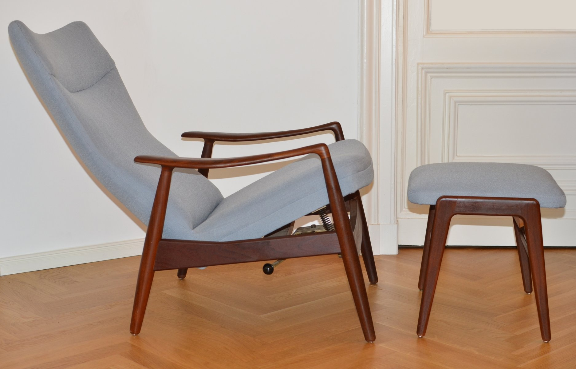Vintage Teak Reclining Lounge Chair U0026 Ottoman By Alf Svensson For Fritz  Hansen