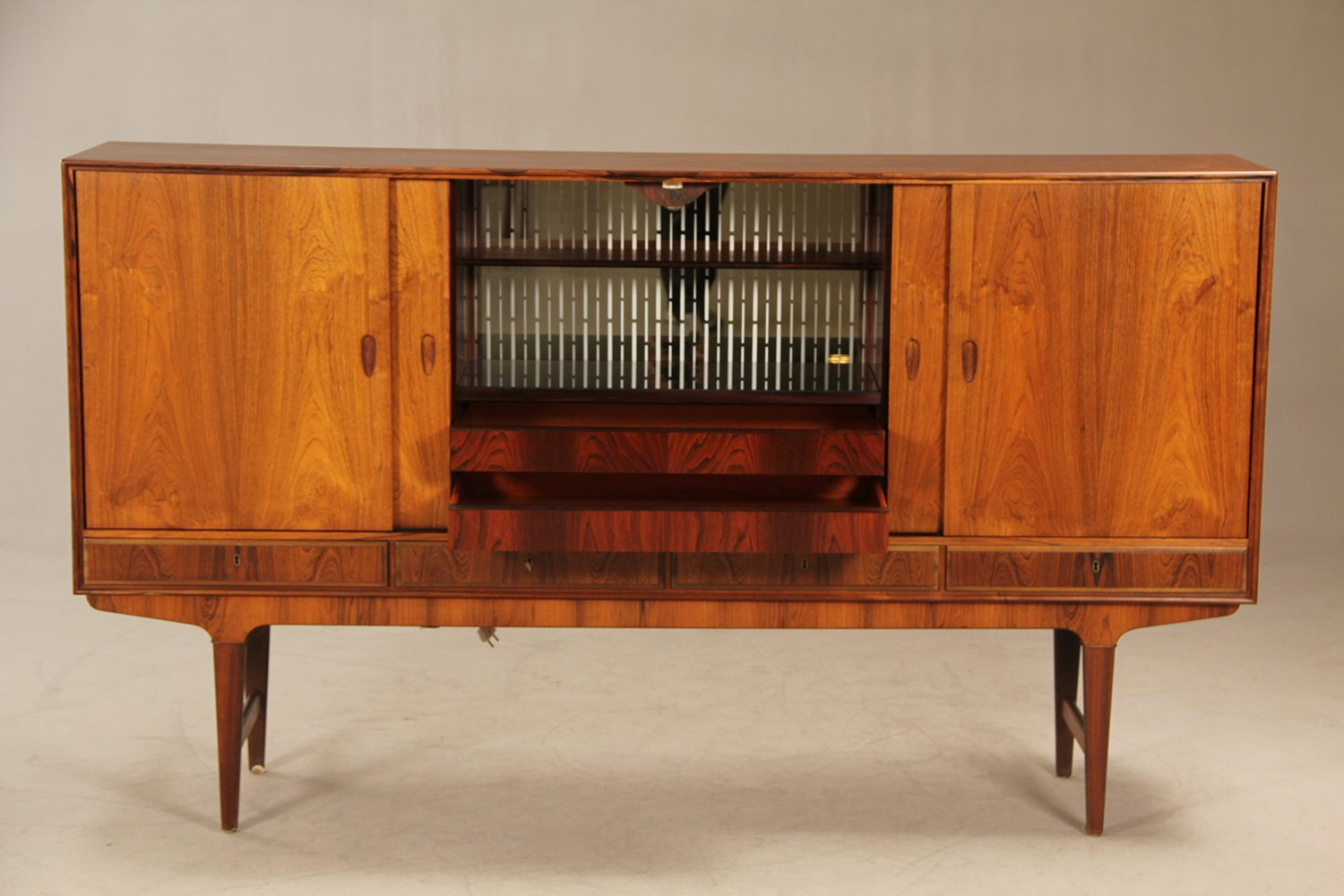 Danish Office Credenza : Mid century danish rosewood credenza with bar cabinet s for