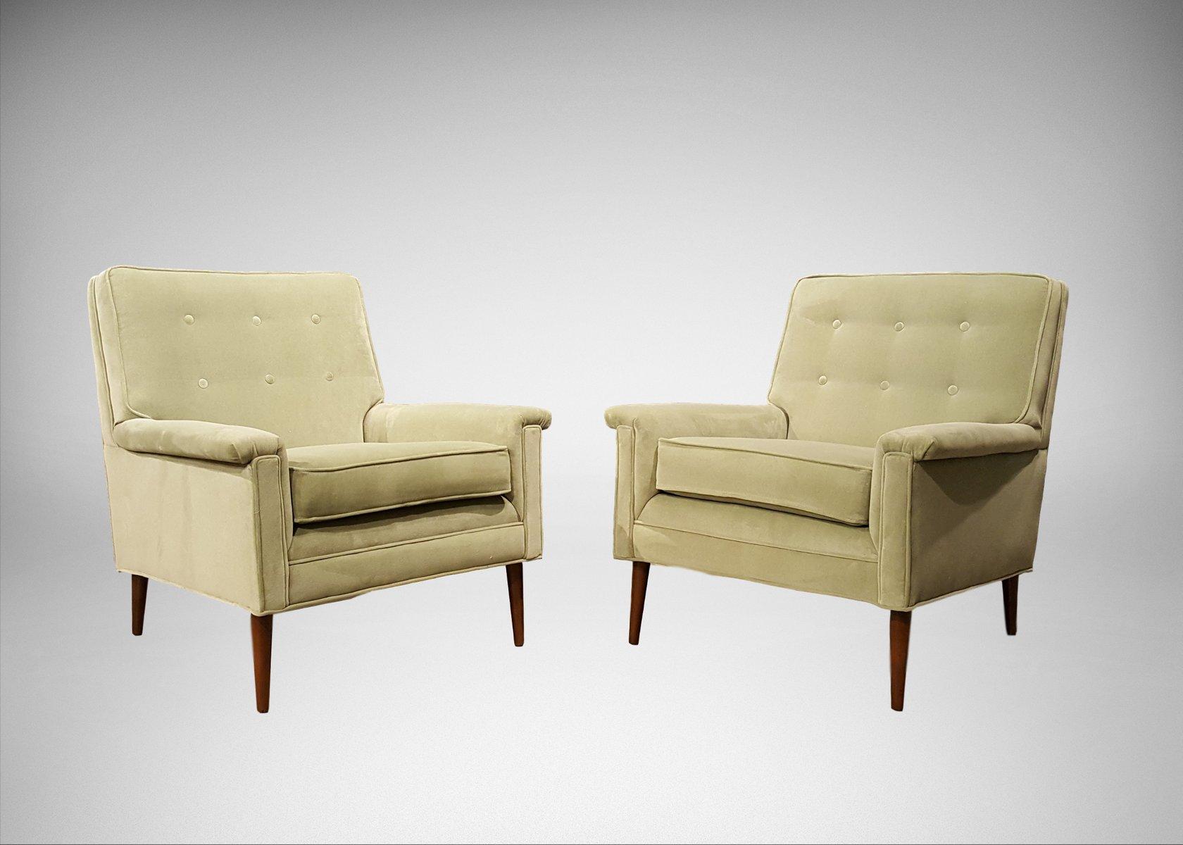Paris Grüne Sessel aus Samt, 1960er, 2er Set