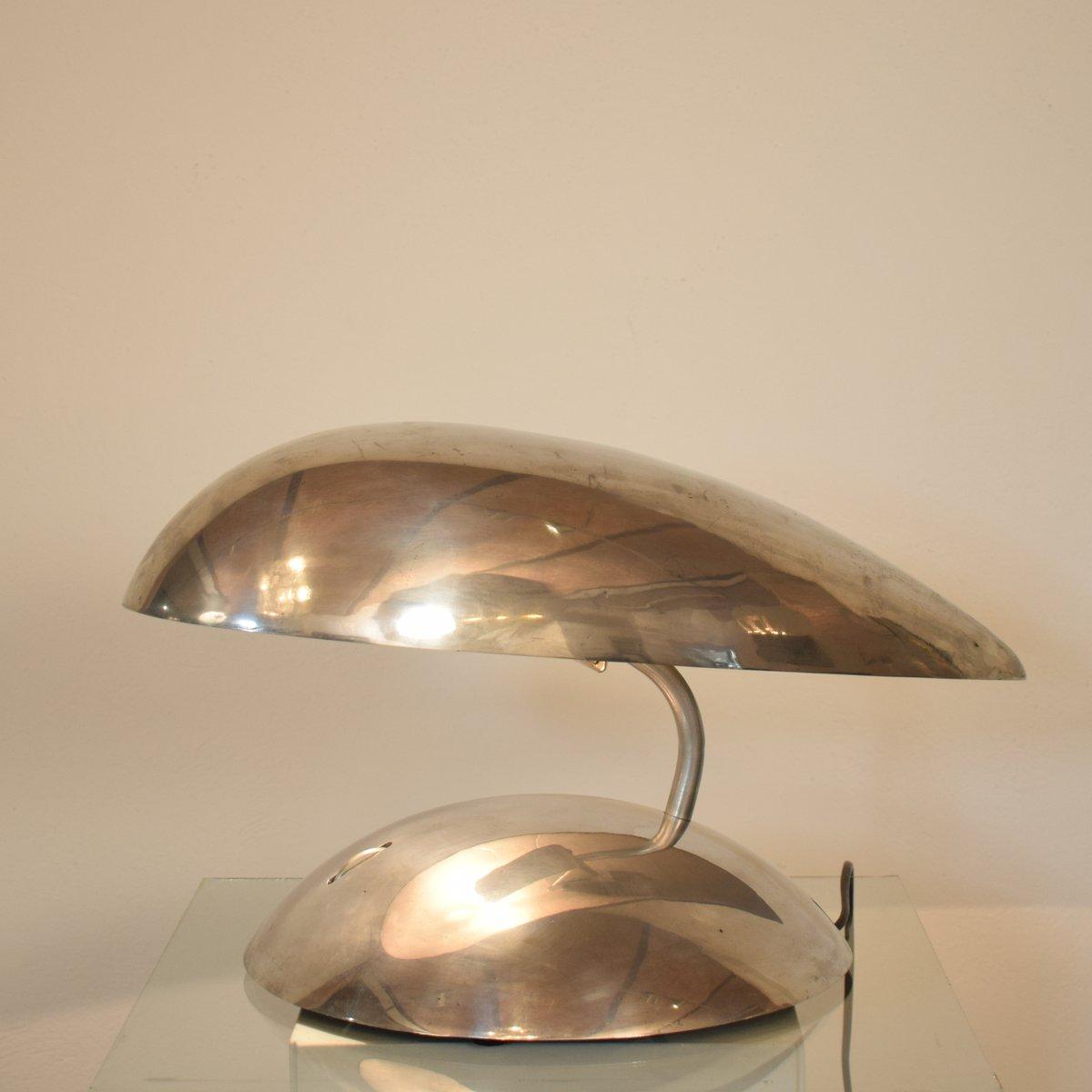 Space Age Tischlampe aus Poliertem Aluminium, 1980er
