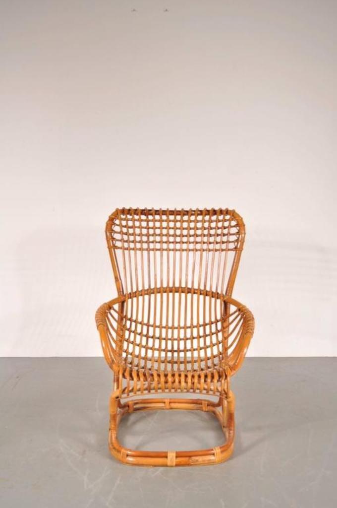 Italian Rattan Lounge Chair By Tito Agnoli, 1960s