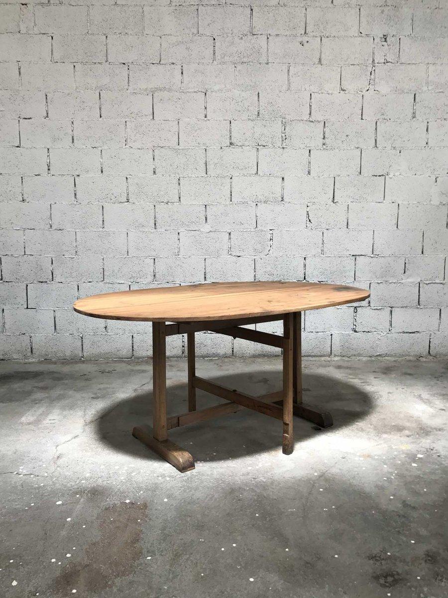 table ovale vintage en bois en vente sur pamono. Black Bedroom Furniture Sets. Home Design Ideas