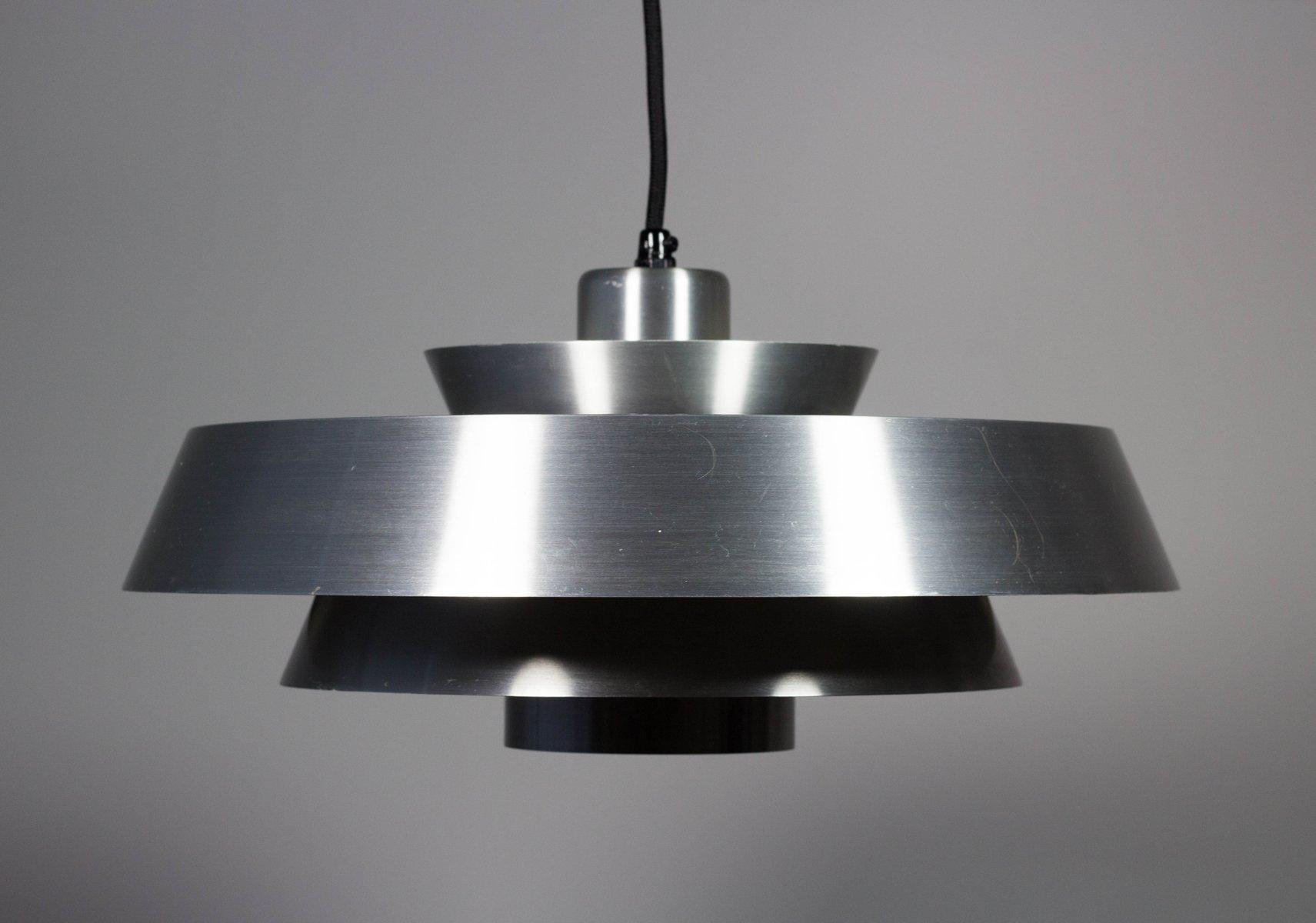Dänische Mid-Century Aluminium Deckenlampe von Johannes Hammerborg für...