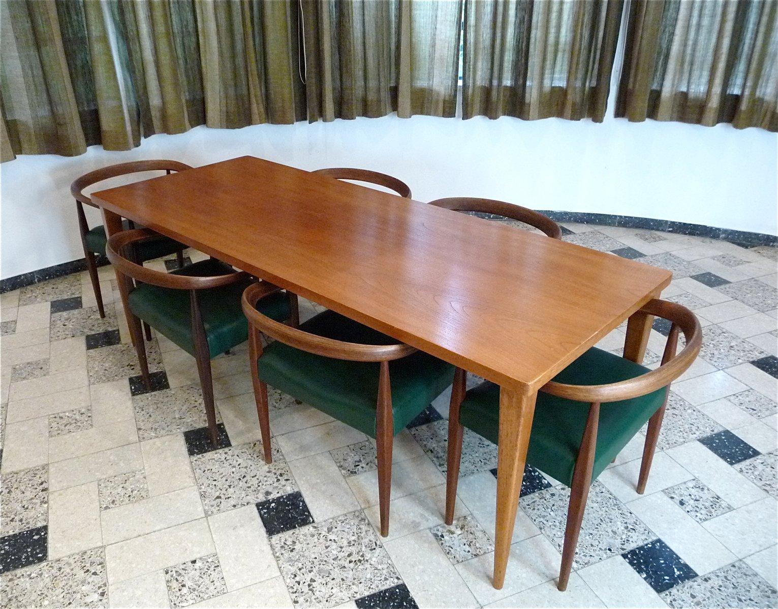 table de salle manger en teck placage de teck par nanna ditzel pour poul kolds sav rk 1950s. Black Bedroom Furniture Sets. Home Design Ideas