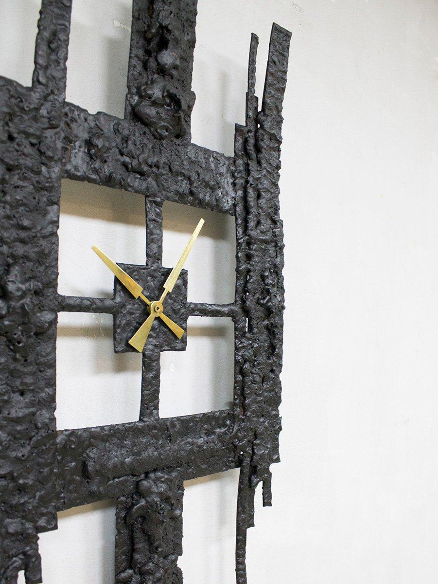horloge brutaliste en fer forg 1960s en vente sur pamono. Black Bedroom Furniture Sets. Home Design Ideas
