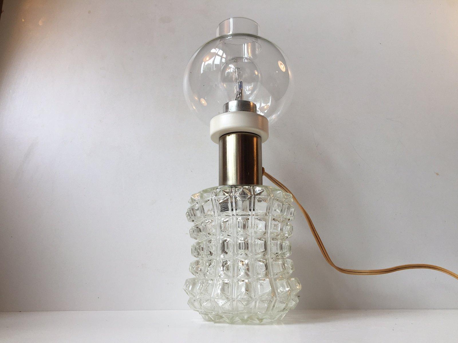 Dänische Zugespitzte Glas Tischlampe von Vitrika, 1960er