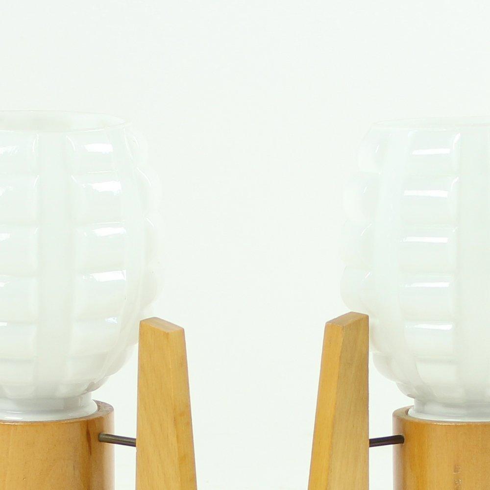 Lampade da tavolo in legno e vetro bianco di drevo - Lampade da tavolo in vetro ...