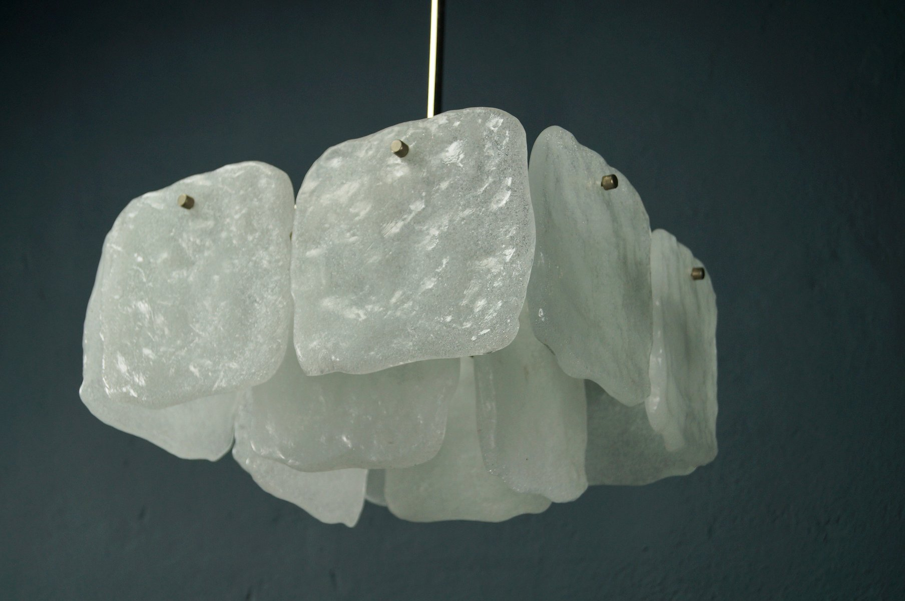 Vintage Murano Eisglas Kronleuchter von Kalmar