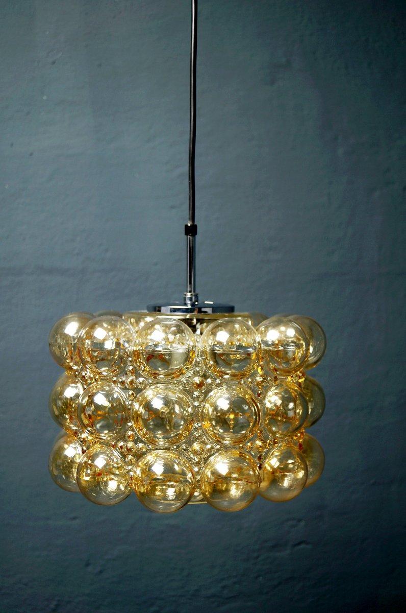 Große Bernsteinfarbene Vintage Bubble Glas Hängelampe von Helena Tynel...