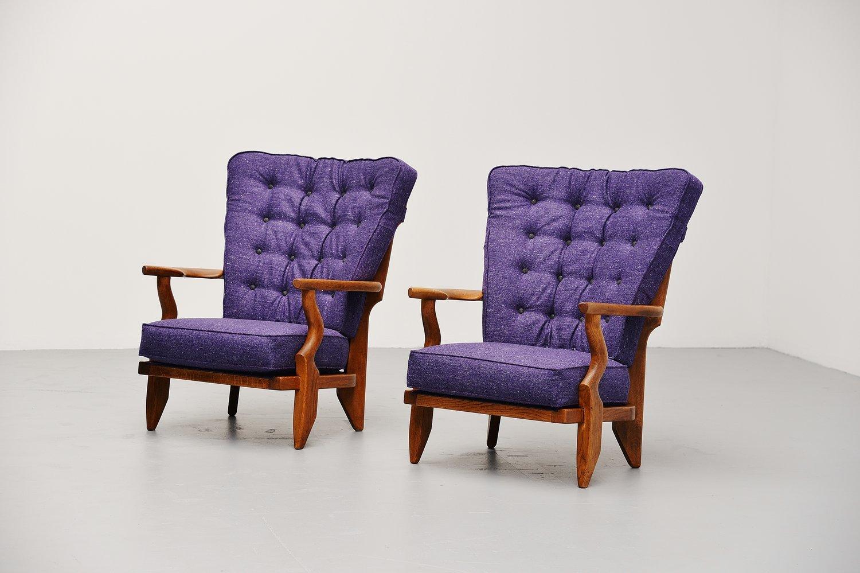 Französische Mid-Century Sessel von Guillerme et Chambron, 2er Set