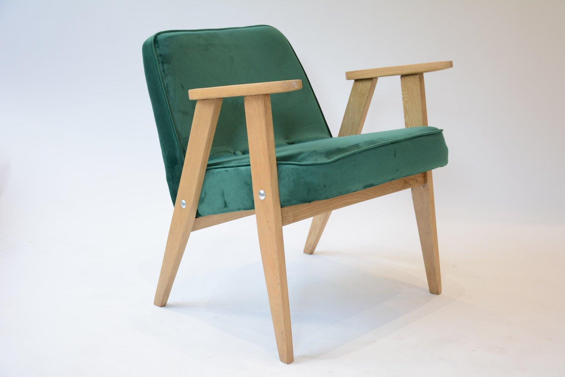Grüner Mid-Century 366 Sessel von Jozef Marian Chierowski