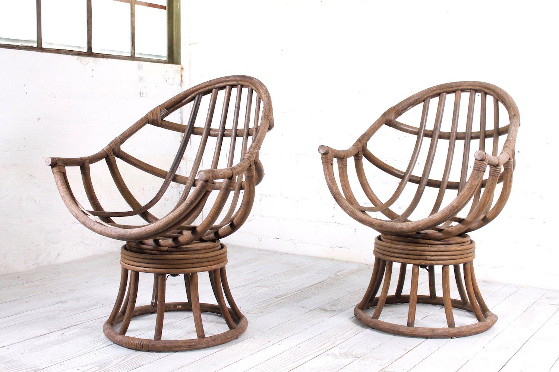 Sedia da giardino vintage girevole in legno anni in vendita
