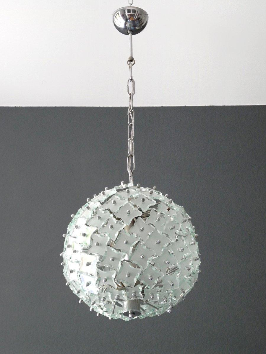 Glas & Metall Hängelampe von Fontana Arte, 1960er