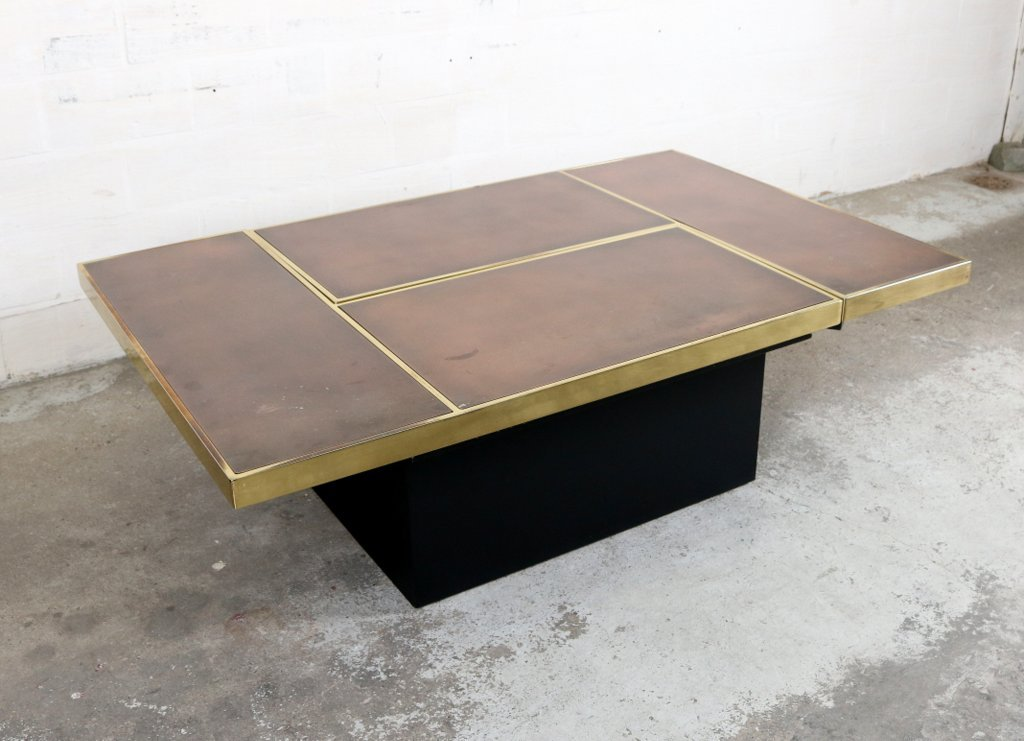 table basse vintage avec bar cach par willy rizzo en vente sur pamono. Black Bedroom Furniture Sets. Home Design Ideas
