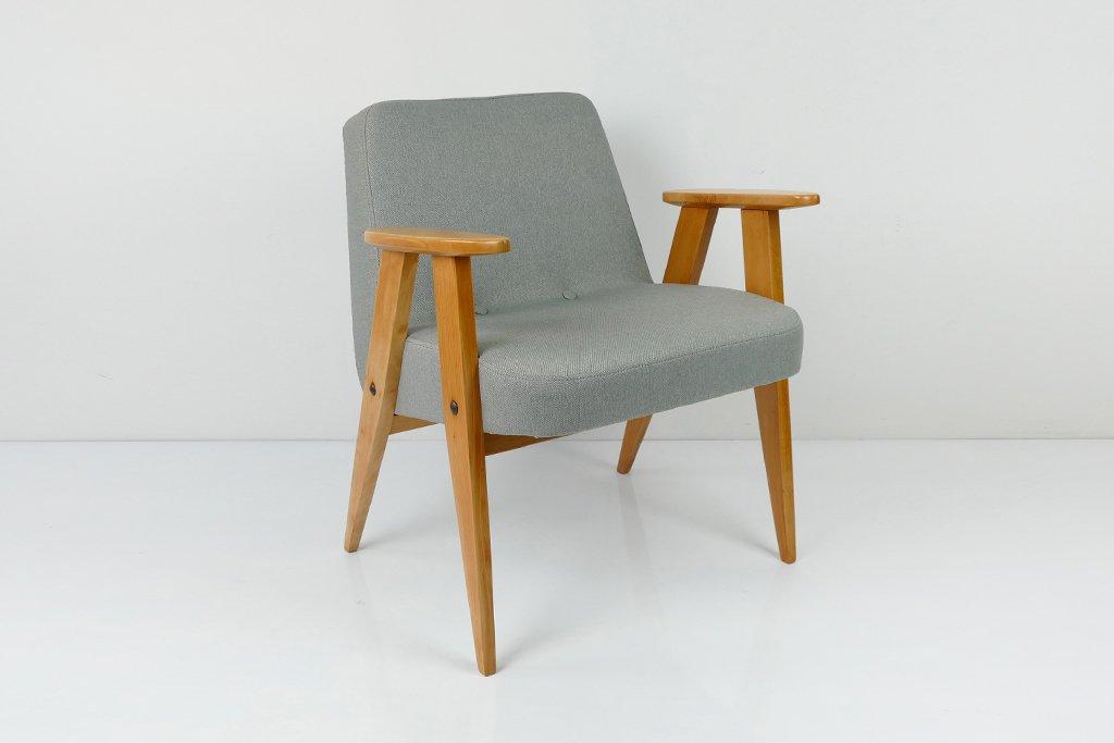 Grauer Vintage Modell 366 Sessel von Józef Chierowski