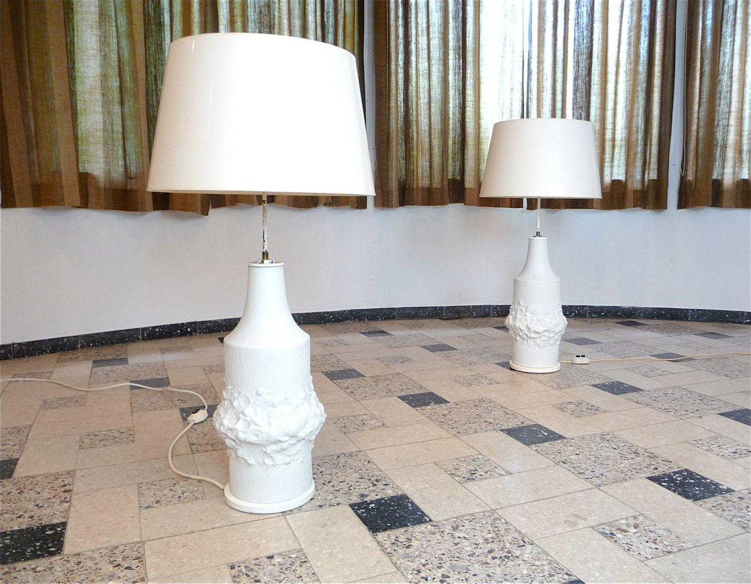 Große Relief Porzellan Tischlampen von Kaiser, 1960er, 2er Set