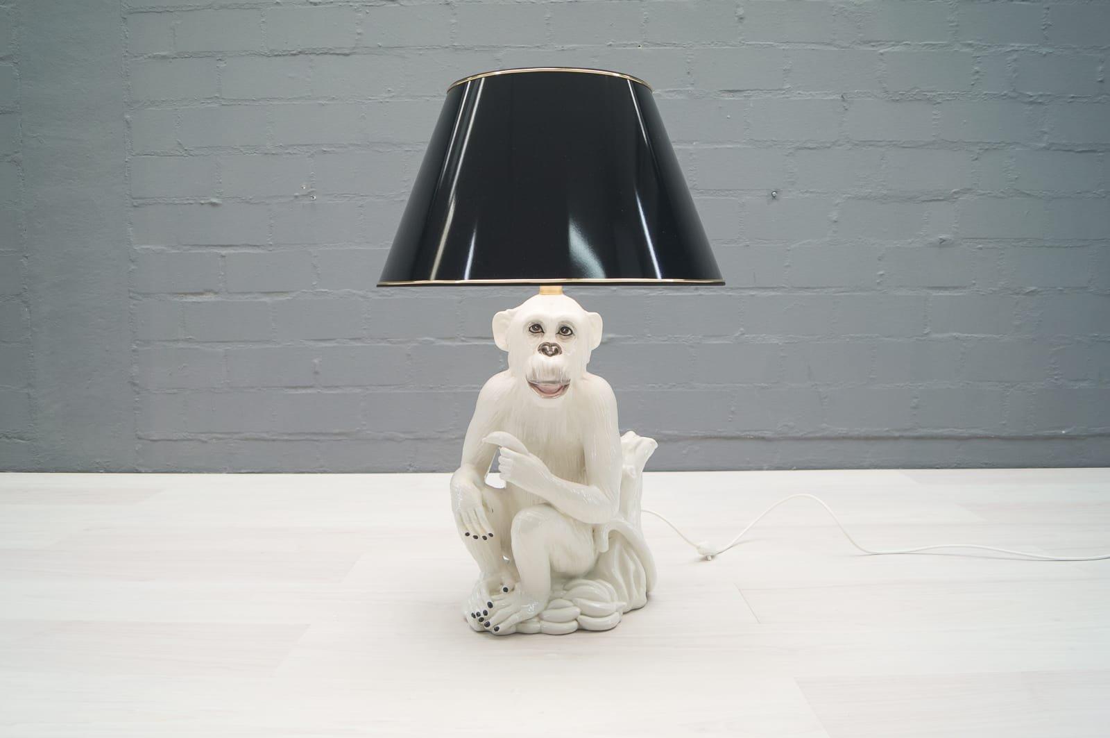 Italienische Vintage Keramik Affen Bodenlampe, 1960er