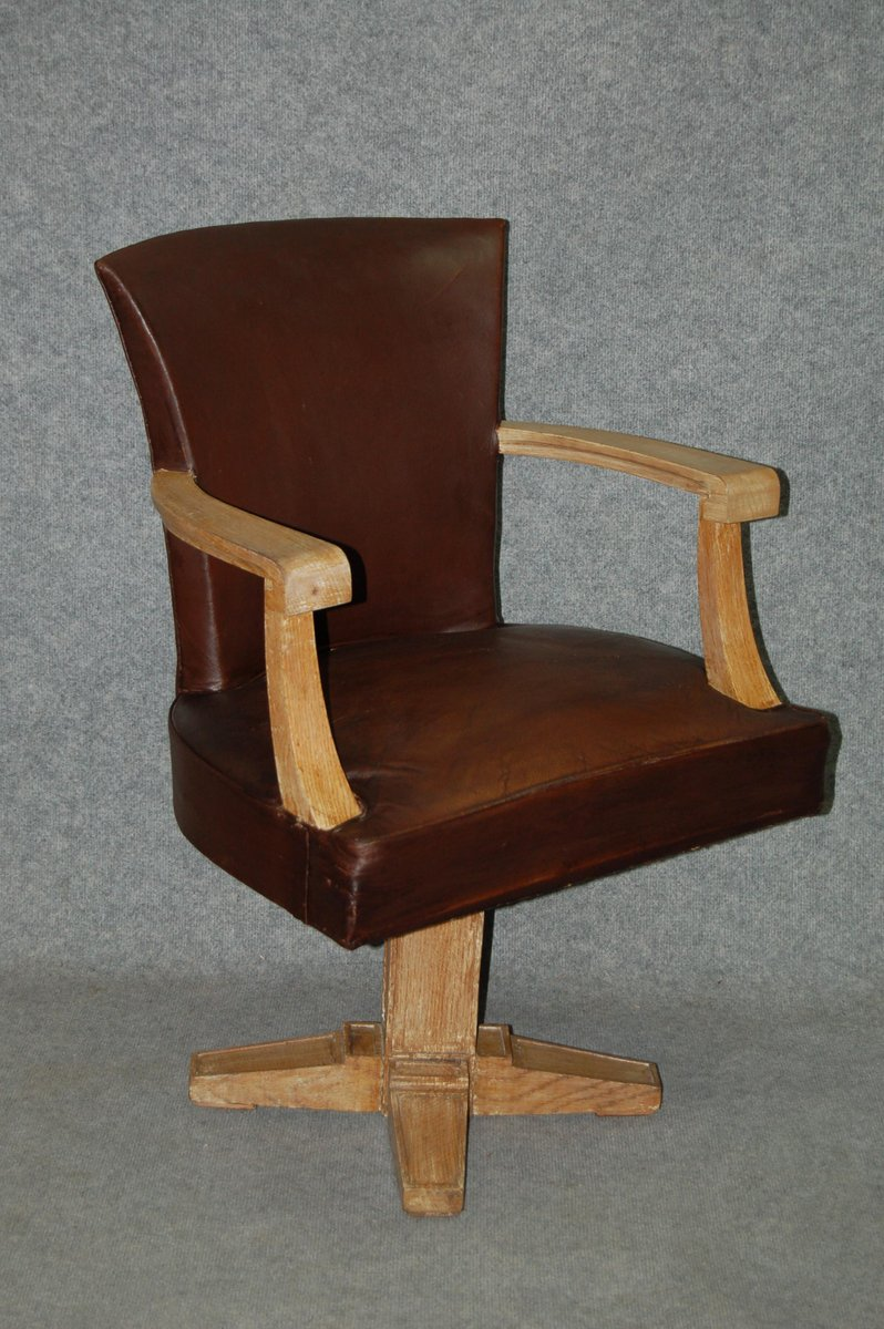 Art Deco Leather Office Chair 1930s & Art Deco Leather Office Chair 1930s for sale at Pamono