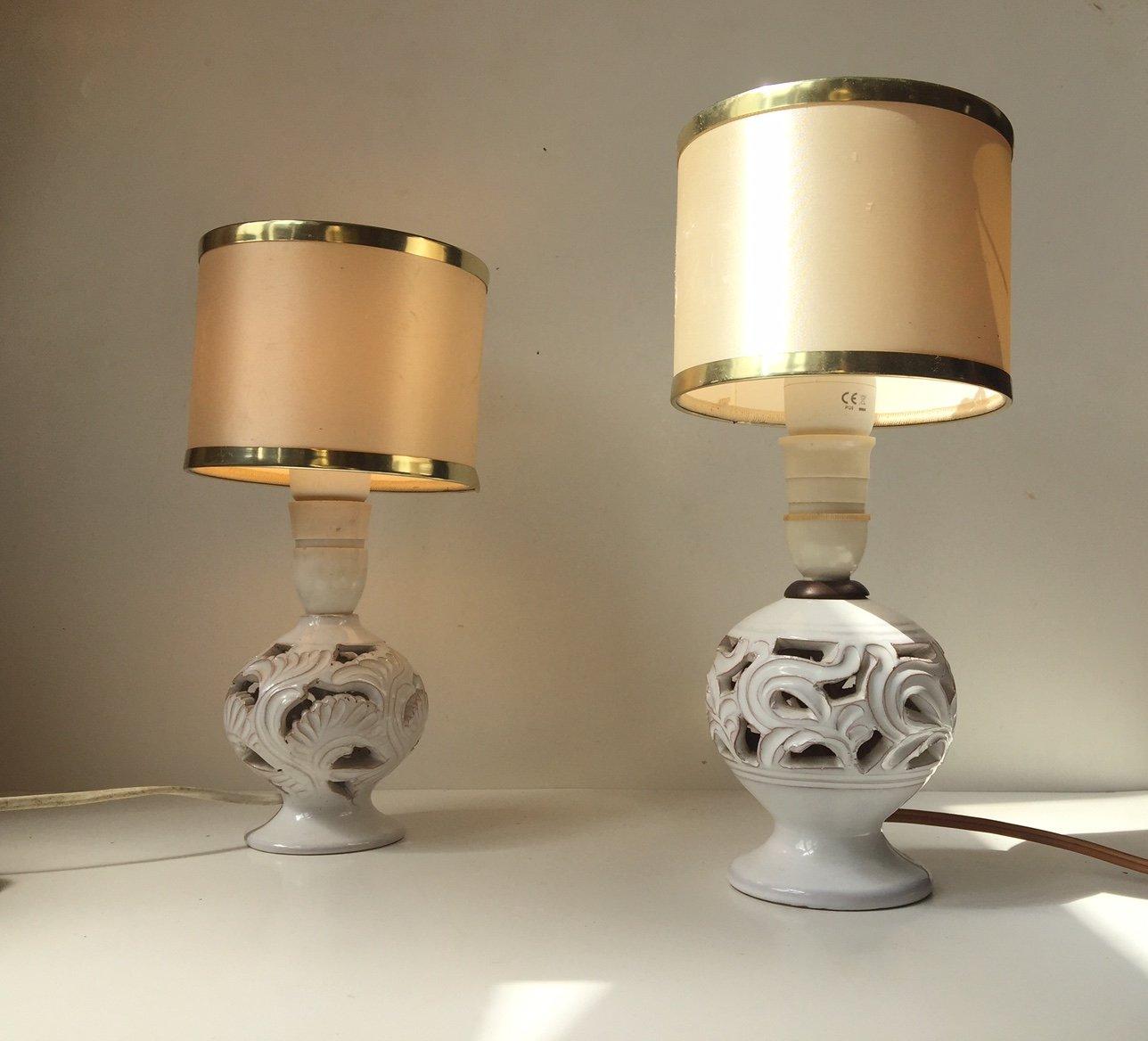 Perforierte Dänische Vintage Keramik Tischlampen von Michael Andersen,...
