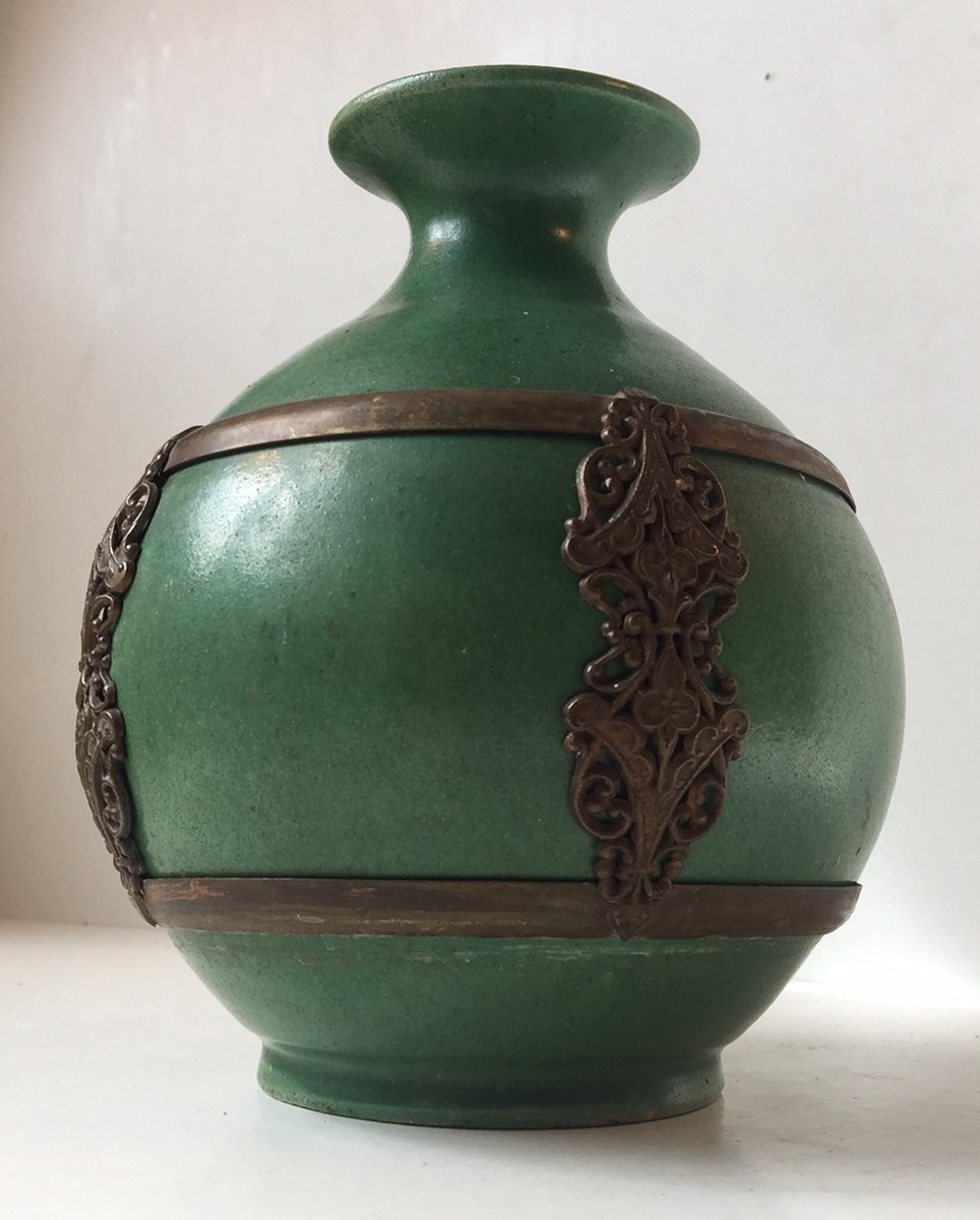 Antique Green Danish Pottery Vase With Brass Details By