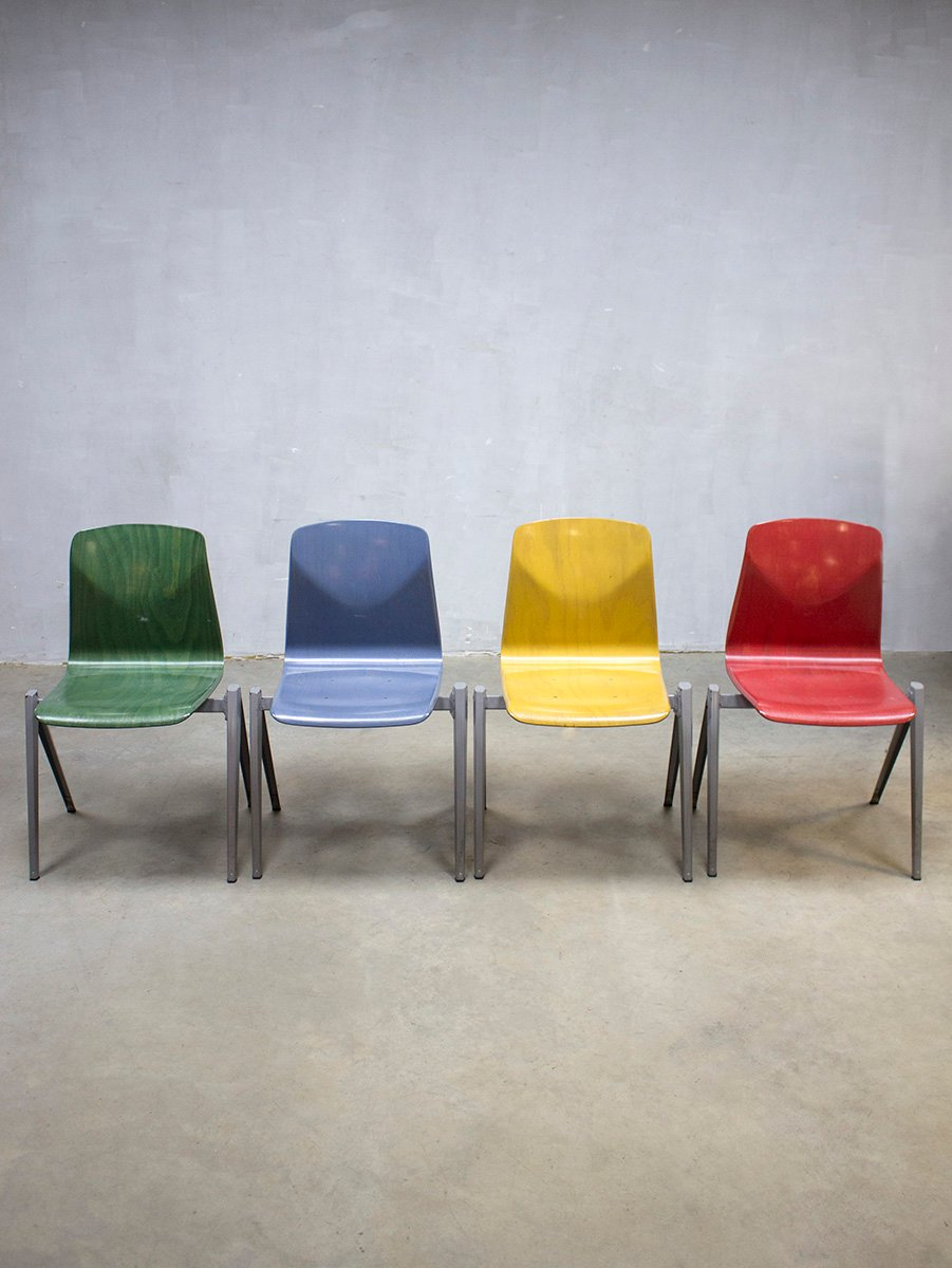 Vintage S22 Industrial Stacking Chairs From Galvanitas, Set Of 4