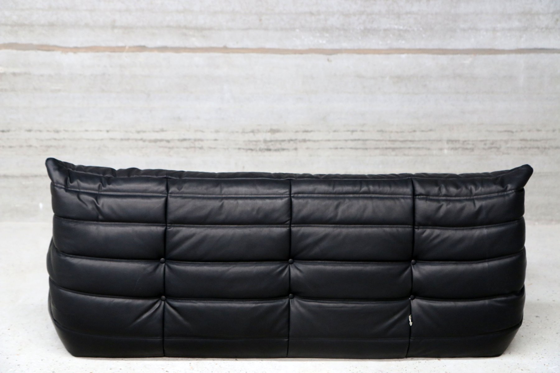 Vintage Three Seater Togo Black Leather Sofa By Michel Ducaroy For Ligne Roset