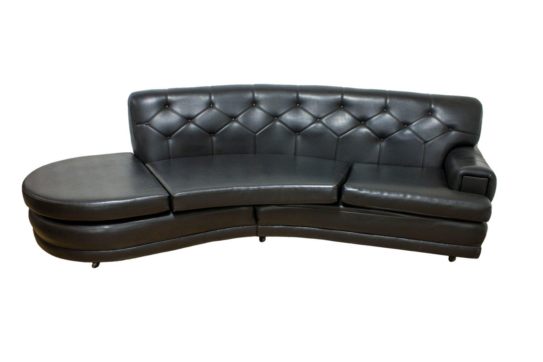 Mid Century Retro Black Vinyl Sofa From G Plan