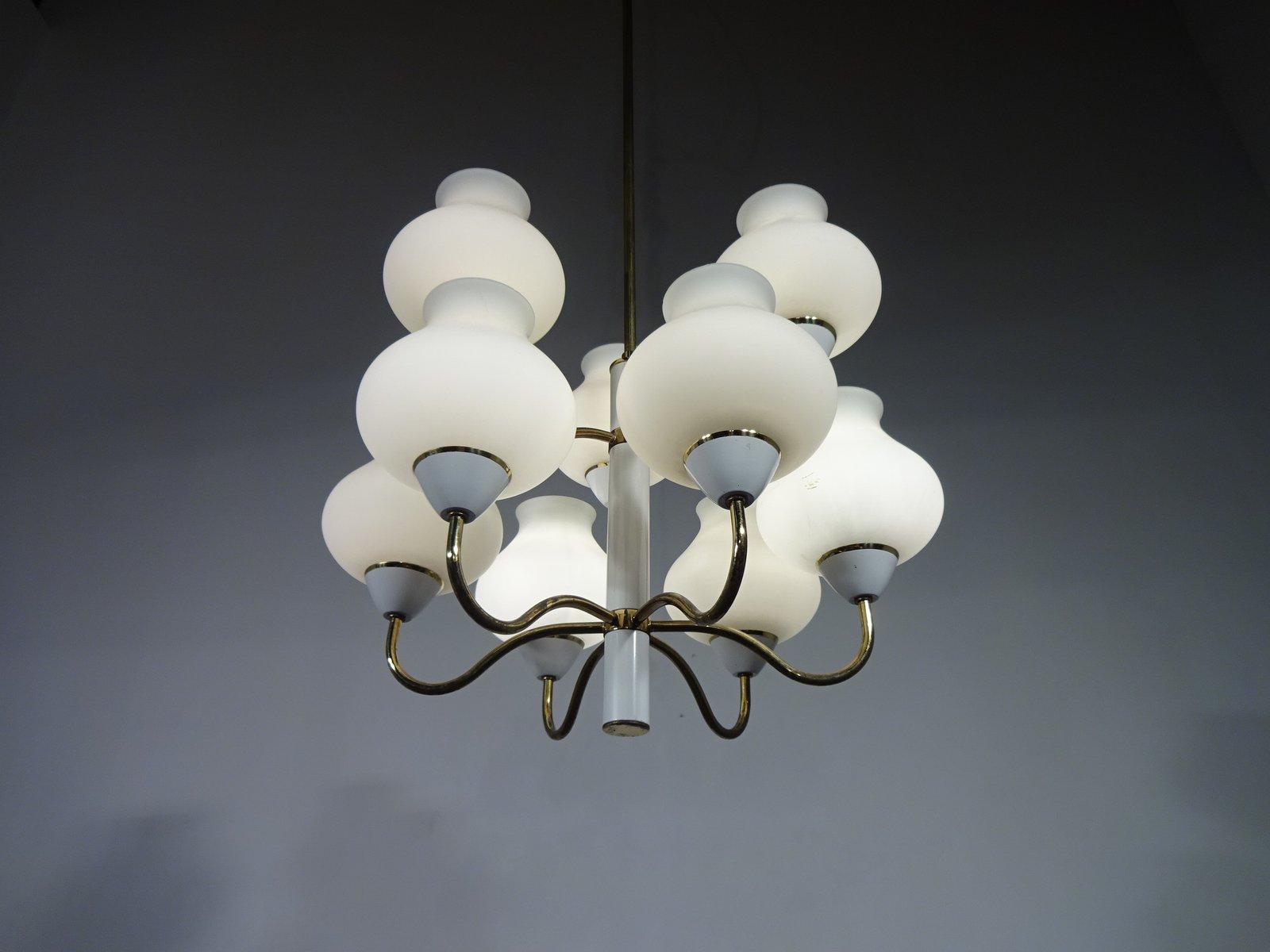 lustre vintage en laiton et verre opalin par hans agne jakobsson en vente sur pamono. Black Bedroom Furniture Sets. Home Design Ideas