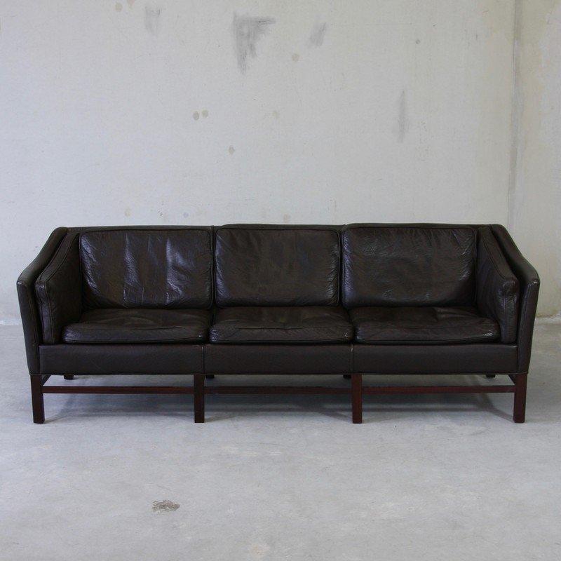 canap trois places en cuir danemark 1970s en vente sur pamono. Black Bedroom Furniture Sets. Home Design Ideas