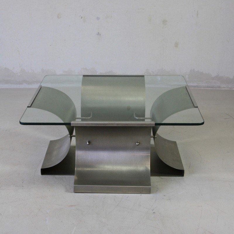 Französischer Metall & Glas Couchtisch, 1970er