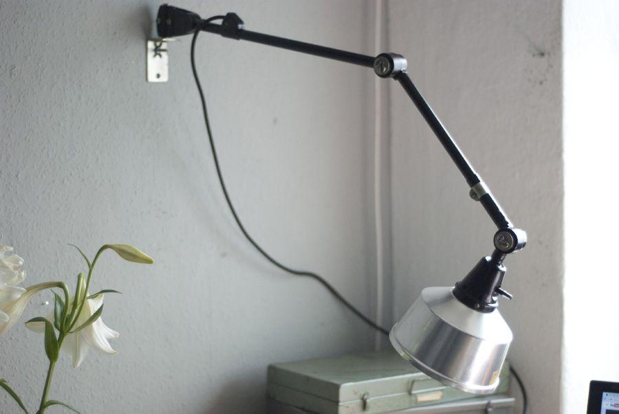 Schwarze Vintage Wandlampe von Curt Fischer für Midgard
