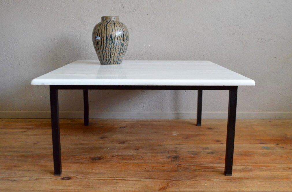Mesa de centro de mármol blanco con marco tubular, años 70 en venta ...