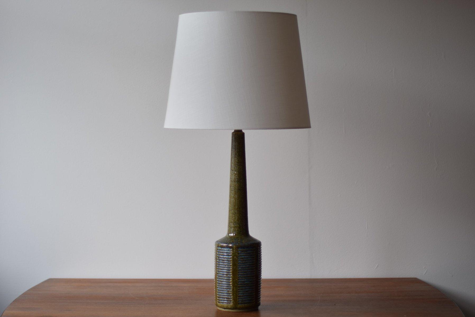 Große Skandinavische Vintage Tischlampe in Grün & Blau von Per Linnema...