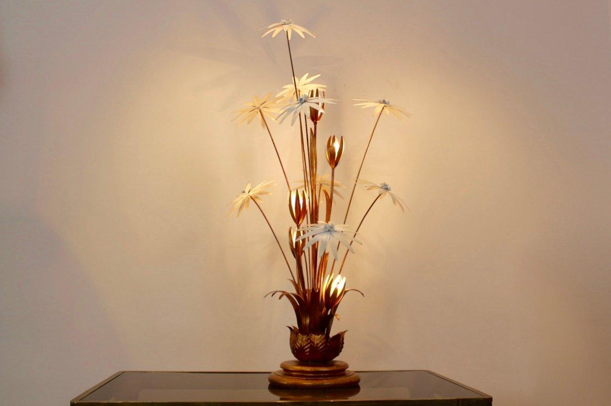 Vergoldete Florale Stehlampe von Hans Kögl, 1970er