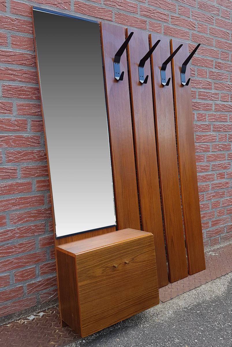 Mid Century Wall Mounted Coat Rack With Mirror For Sale At
