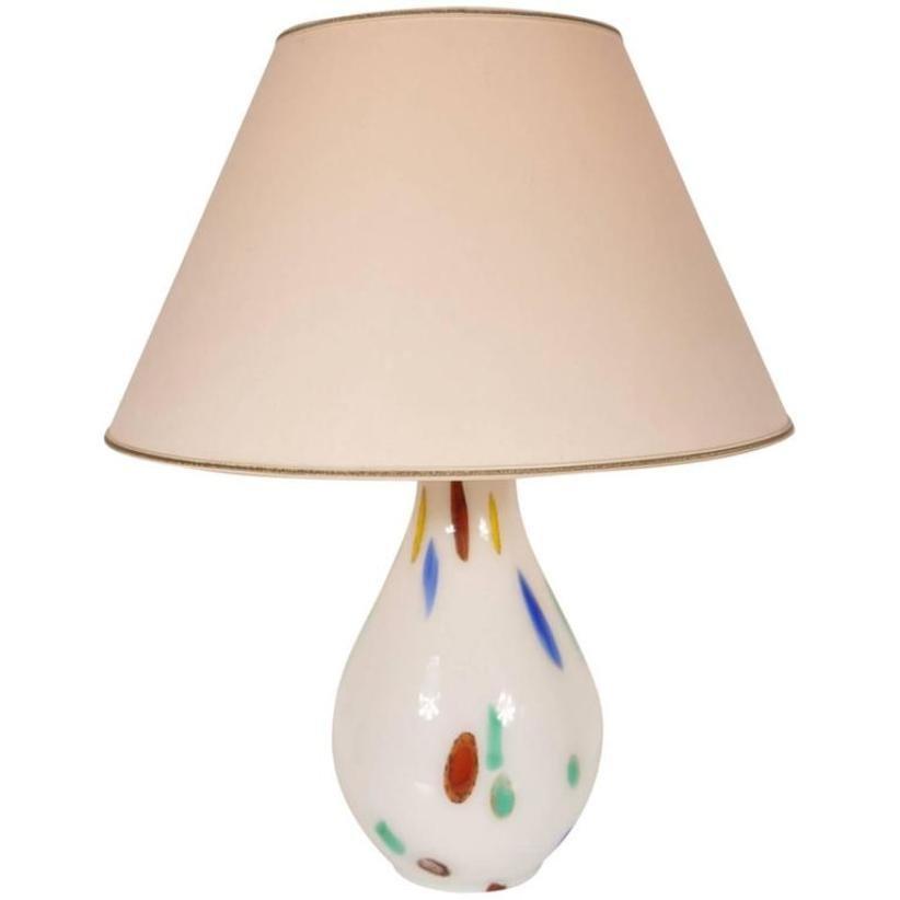 Italienische Murano Glas Tischlampe von Dino Martens für Aureliano Tos...